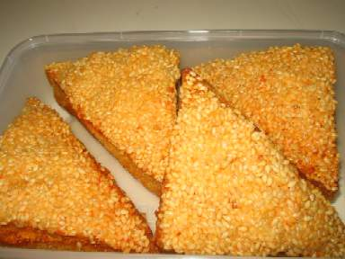 3 A________sesame prawns on toast(four pieces)